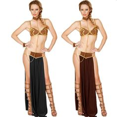 Special Use: Costumes Gender: Women Source Type: Movie & TV Model Number: H080 Components: Skirts,Bra Material: Polyester Characters: Leia Bra: sleeveless color : brown or black free size: in stock source : Star Wars include: dress, Bra