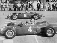 Start of the Italian Grand Prix at Monza 1961. Wolfgang von Trips (4) and Ricardo Rodrigues (8) on the front row.