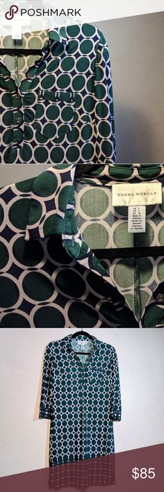 Donna Morgan Shirtdress | 0 Lovely emerald green graphic-geometric print over a subtle almost-pinkish color.  .  Long-sleeve collared shirt-dress with gold button hardware.  .  Excellent condition, was worn only twice ever and is freshly cleaned! . Tag size is 0.  Fits comfortably like a regular small. Donna Morgan Dresses Long Sleeve