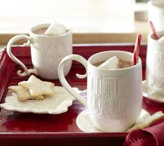 Perfect for a Fa La Latte when you are all snuggled up! Alphabet Mugs - White | Pottery Barn