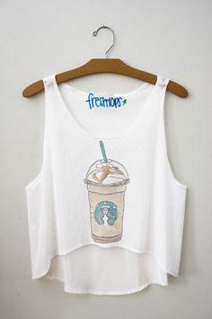 Starbucks Carmel frappuccino Fresh-Tops Crop Top | fresh-tops.com