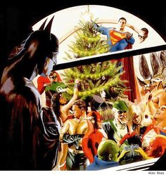 Christmas with the Justice League. Painted by Alex Ross. Batman is something of the anti-social type here. Alex Ross, Superman Wonder Woman, Batman And Superman, Batman Art, Justice League Pictures, Funny Picture Gallery, Dc Comics, Norman Rockwell, Dc Heroes
