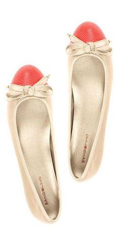 coral toe, bow flats :: love!