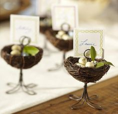 In love with these bird& nest placecard holders! Use for a tea, baby shower, wedding, etc. Easter Table, Easter Eggs, Pottery Barn Table, Jordan Almonds, Bird Theme, Idee Diy, Deco Table, Decoration Table, Wedding Favours