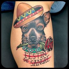 tattoo old school / traditional ink - mexican dog