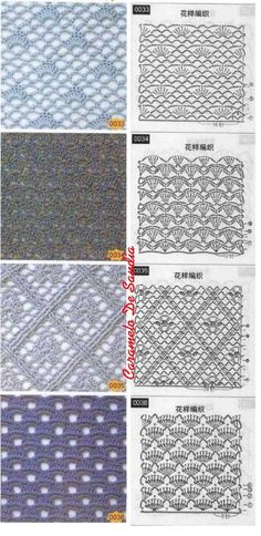 Different crochet lace ground stitches, some with shells. Like Nr 033