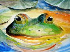 ORIGINAL Giant Watercolor Frog Art 18X19 lake and by fishfanatic