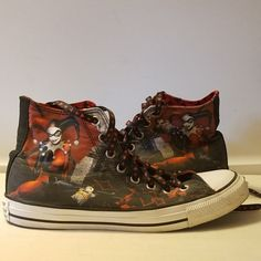 HARLEY QUINN CONVERSE CHUCK TAYLOR HIGH TOP SNEAKER ADULT SIZE WN 10 MN 8