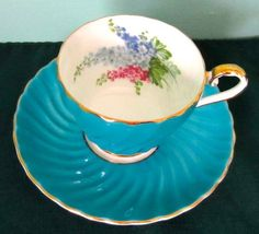 Aynsley Fancy Delphiniums Turquoise Blue Bone China Tea Cup and Saucer 1940s | eBay