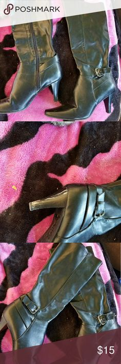 """Faux leather boots Black faux leather boots with 3"""" heels. Heels have a little scuff from stepping in snow and can easily be covered up Shoes Heeled Boots"""