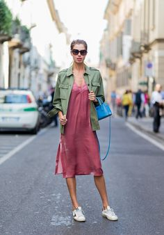 Make a slip dress your go-to weekend look with the right layer over top and a pair of cool-girl kicks on bo...