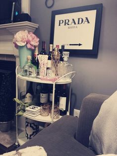 Cute bar cart doubles as decoration