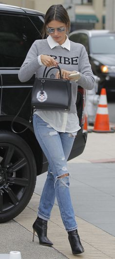 Alessandra Ambrosio in RE/DONE Slim Straight Jeans