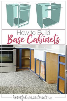 How to Build Base Cabinets Build your own dream kitchen for a fraction of the cost by building your own kitchen cabinets. Learn everything you need to know about how to build base cabinets to get you started. Building Kitchen Cabinets, Diy Kitchen Cabinets, Built In Cabinets, Diy Kitchen Storage Cabinet, Woodworking Kitchen Cabinets, Homemade Cabinets, How To Make Kitchen Cabinets, Kitchen Cabinet Dimensions, Kitchen Cabinet Sizes