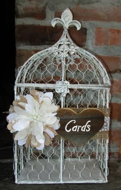 Bird Cage Card Holder  Wedding Card Box  Rustic Wedding Card Box Chicken Wire Birdcage by MyMontanaHomestead