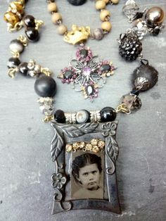 Reliquary, memento mori, remembrance, Whitby, crown, assemblage necklace, antique photo, gothic, black, old beads, old photo, royal jewelry, Memento Mori, Gothic, Jewelry Frames, Found Object Jewelry, Modern Frames, Royal Jewelry, Crown, Edwardian Fashion, Antique Photos