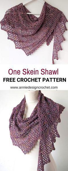 One Skein Crochet Shawl Pattern - Tendril - Annie Design Cro.-One Skein Crochet Shawl Pattern – Tendril – Annie Design Crochet - One Skein Crochet, Crochet Shawl Free, Crochet Shawls And Wraps, Crochet Scarves, Crochet Lace Scarf, Scarves & Shawls, Redheart Free Crochet Patterns, Knitting Patterns For Scarves, Scarfs