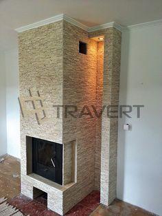 Interiérový obklad krbu z prírodného kameňa http://travert.sk/referencia/utulny-krb-z-travertinovej-bezovej-mozaiky