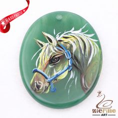 Hand Painted Horse Agate Slice Gemstone Necklace Pendant Jewlery D1707 0007 #ZL #Pendant
