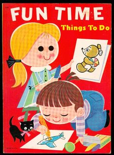 Large Vintage Lowe 9095 Fun Time Things to do Activity Book Coloring Puzzles | eBay