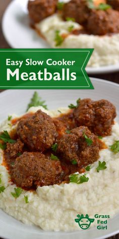 Easy Slow Cooker Meatballs | https://www.grassfedgirl.com/easy-meatball-crock-pot-recipe/