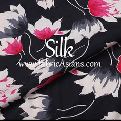 Buy Discounted Floral SILK. Black Red Silk. Red Floral Silk. by fabricAsians