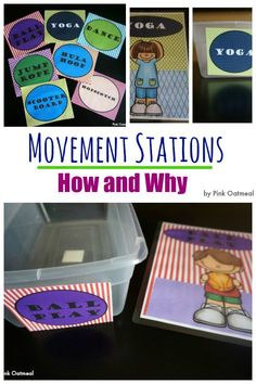 Movement Stations are essential to learning. Perfect for an educational setting. Great for kinesthetic learners. A nice accompianment in math or literacy centers! I love the yoga station ideas! Gross Motor Activities, Movement Activities, Gross Motor Skills, Sensory Activities, Activities For Kids, Sensory Motor, Sensory Tubs, Sensory Play, Learning Centers