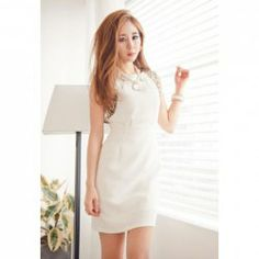 $9.59 Scoop Neck Sleeveless Paillette Embellished Ladylike Summer Dress For Women