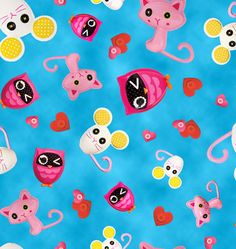 Lalaloopsy Cute as a Button Pet Toss Blue - Quilting Treasures - Cotton fabric - Choose your cut