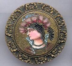 16th century male head champleve enamel on stamped brass face is painted enamel late 19th century button
