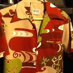 4e268efc No iron gorgeous polyester material. Front zipper with one looped metal  button. Bright, vibrant colors with tribal print. Napili Hawaiian Other