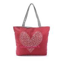 Women Girl Canvas Eco Shopping Tote Shoulder Handbag Beach Bag Shopper SatchelStyles:Heart Red Col