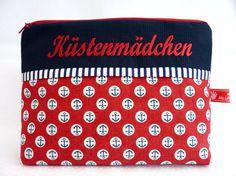 Maritime Kosmetiktasche Küstenmädchen, AHOI ! von Made by Heidi auf DaWanda.com