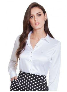 7d8b0d2c24 Camisa de Cetim Social Branca Principessa Aurea