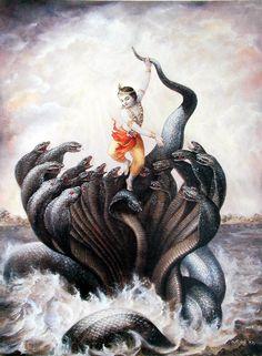பகவான் ஸ்ரீ கிருஷ்ணரின் கதைகள் - காளிங்கனின் மீது பகவான் ஸ்ரீ கிருஷ்ணர் நடனமாடுதல்