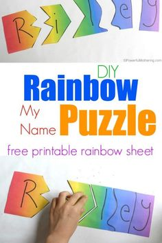 Rainbow My Name Puzzles Use a variety of ideas to teach your child their name! this Rainbow My Name Puzzle is great for toddlers and preschoolers Preschool Name Recognition, Name Activities Preschool, Rainbow Activities, Preschool Colors, Free Preschool, Toddler Preschool, Preschool Activities, Color Activities, Preschool Classroom