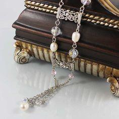 Pearl Bridal Earrings Long Pearl Earrings Oxidized by