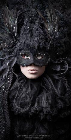 Black, mask, feathers