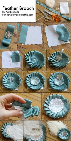 Ribbon Rosette DIY Brooch with Feather