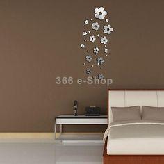 28pz Specchio Adesivo Parete Fiori Design Argento Arte Decorazione Casa