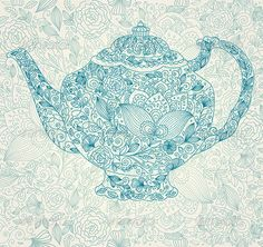 Vector illustration with tea pot