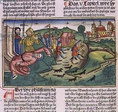 I Samuel 5:1-11 The Philistines seize the Ark and are struck by the plague, from the 'Nuremberg Bible (Biblia Sacra Germanaica)' (coloured woodcut), 1483