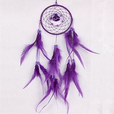 Dream Catcher 8BEES GIFT Handmade With Feathers Circular Net India Style Car Wall Hanging Decoration Ornament Gift Purple *** Quickly view this special  product, click the image : Dream Catchers