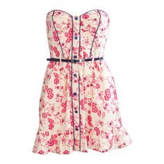 Miso Belted Sweet Flower Dress ($7.78) ❤ liked on Polyvore