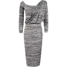 Boohoo Savanah Knitted Drape Shoulder Midi Dress ($26) ❤ liked on Polyvore featuring dresses, draped dress, mid calf dresses, calf length dresses, midi dress and boohoo dresses