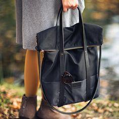 Black cotton tote handbag WOLF / natural by MOOSEdesignBAGS