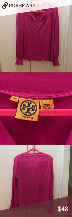 """Tory Burch Silk Tunic Fuchsia color. Hard to find style. 25.5"""" sleeve length. Pic 5 shows slight pull on back, pics 6-8 show very not noticeable stains that could be easily cleaned by a dry cleaner. Tory Burch Tops Blouses"""