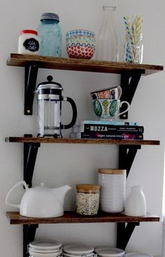 DIY Wood Kitchen Shelves - 18 DIY Kitchen Organizing And Storage Projects