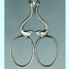 Figural Antique English Steel Snakes Scissors * Circa 1900