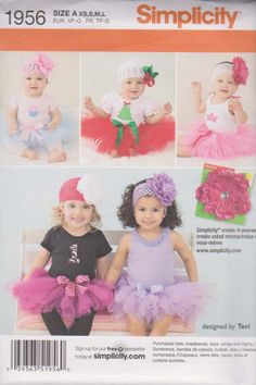 Simplicity 1956 Babies Tutu and Appliques Sewing Pattern, Size XS,S.M,L. $6.00, via Etsy.